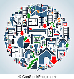 Property services market set - Real estate icon set in globe...