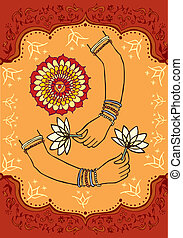 India woman hands and lotus background