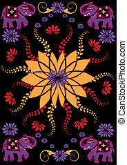 Festive typical indian elephant over dark background -...