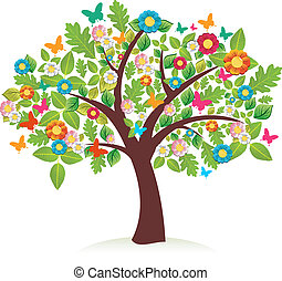 Abstract spring time tree composition with flowers. Vector...