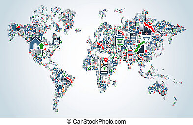 Property service icons World map - Real estate icon set in...