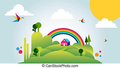 Happy spring time landscape illustration background -...