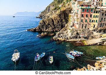 Harbor in the Village of Riomaggiore in Cinque Terre, Italy
