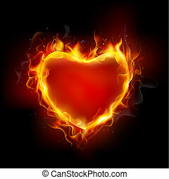 Burning Heart - illustration of burning flame around heart...
