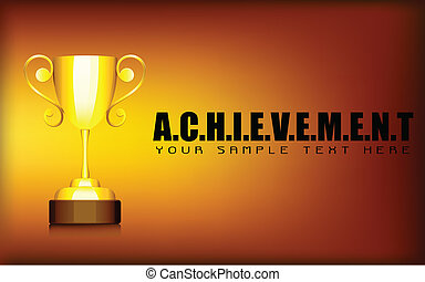 Gold Trophy in Achievement Background - illustration of gold...