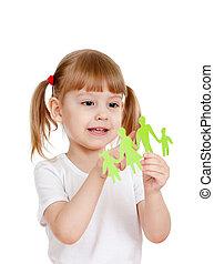 pequeno, família, mostrando, papel, corte, segurando, menina