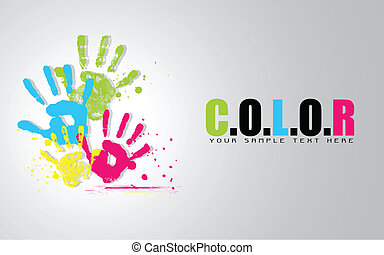 Colorful Hand - illustration of colorful hand showing colors...