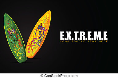 Surf Board on Extreme Concept - illustration of colorful...