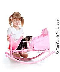 cacheados, criança, menina, tocando, gatinho,...