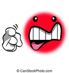 Accusing smiley - Angry smiley character pointing at you Red...
