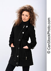 girl in a black coat - beautiful girl in a black coat