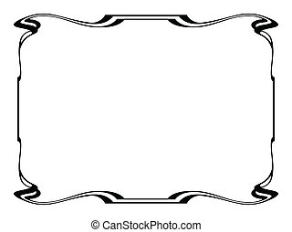 art nouveau black ornamental decorative frame - Vector art...