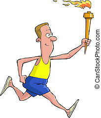 Torchbearer - A man runs with Olympic torch vector