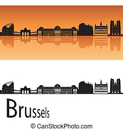 Brussels skyline in orange background in editable vector...