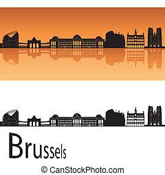 Brussels skyline in orange background in editable vector...