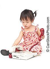 bebé, el marcar, viejo, beige, teléfono,...