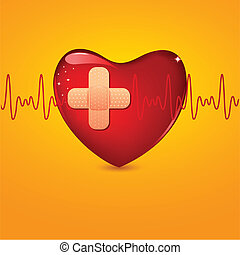 Wounded Heart - illustration of bandage on wounded heart...