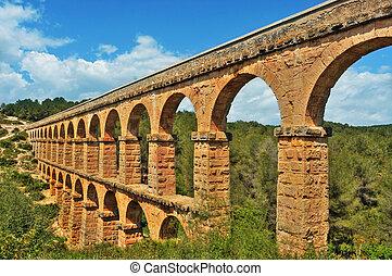 romano, Acueducto, Pont, Diable, Tarragona, españa