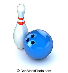 Ten Pin Bowling Illustration - A Colourful 3d Rendered Ten...