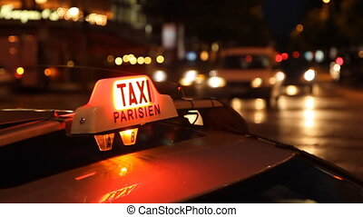 Taxi Parisien. Timelapse. - Paris taxi at night on the...