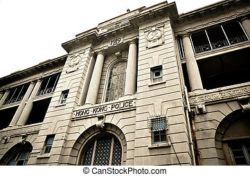 Hong Kong police - Central police department building in...