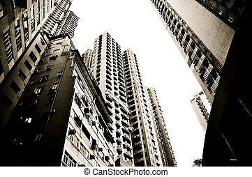 Residential district - view on the skyscrapers of Hong Kong...