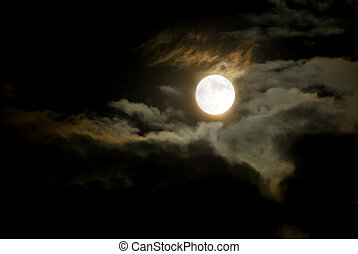 Glowing Moon - Night Sky - Glowing Full Moon and Dark Clouds