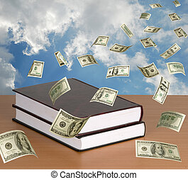 Money falling on books