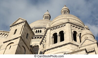 Sacre Coeur detail. Timelapse. - Timelapse clouds move over...