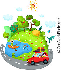 summer travel - vector illustration of a summer travel