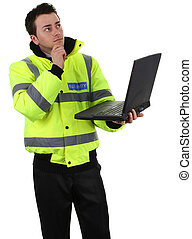 Security guard holding a laptop, isolated on white