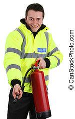 Seguridad, guardia, fuego, Extintor