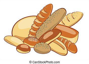 Bread. Vector illustration - breads and muffins, pastries,...