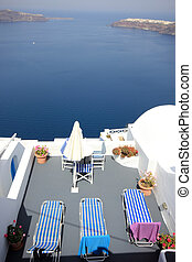 Santorini village terasse by the sea - Santorini Oia village...