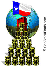 Texas Oil. - Oil barrels and Texas flag.