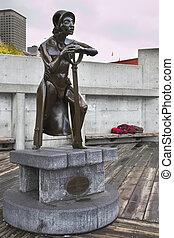 el, Escultura, Decorar, puerto, Seattle