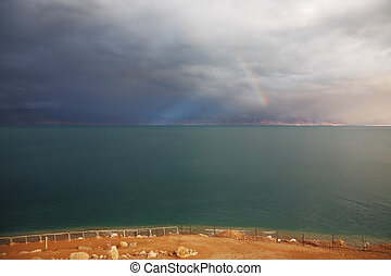 Blue storm cloud and magnificent rainbow - Winter on the...