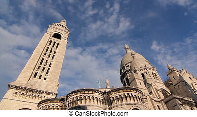 Sacre Coeur Timelapse - Timelapse clouds move over Sacre...