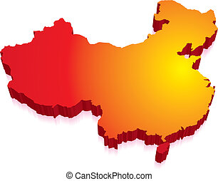 3D Map of China with Flag