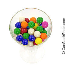 Bubble gum in wine glass - Top view of a wine glass holding...