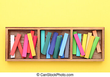 Colorful crayons - colorful crayons in a wooden box