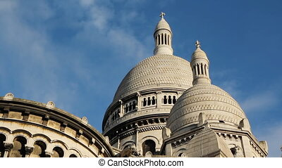 Sacre Coeur Domes. Timelapse. - Timelapse clouds move over...