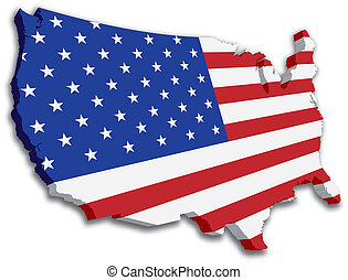 USA 3D State Flag map - A 3D US map with flag of the united...