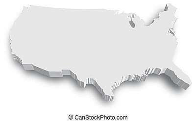 Black and White 3D USA State map - An US State map in Black...