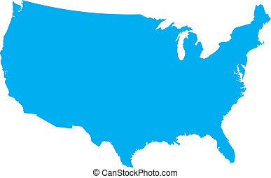 Blue USA country map - Blue country map of the United States...