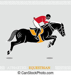 Athlete equestrian - Greek art stylized rider jumping with...