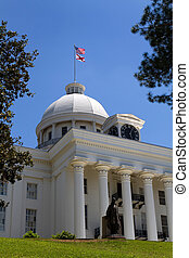 Alabama Statehouse in Montgomery, Alabama, with the statue...