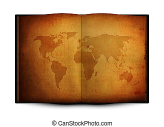 open book with old grunge world map  isolated on white