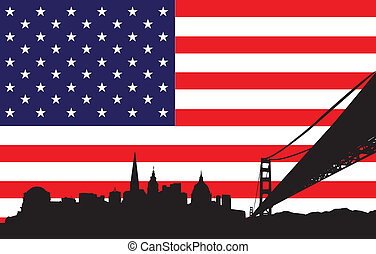 San Francisco Skyline and flag of U - Vector of skyline of...