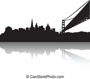 San Francisco Skyline - Vector of the San Francisco on white...
